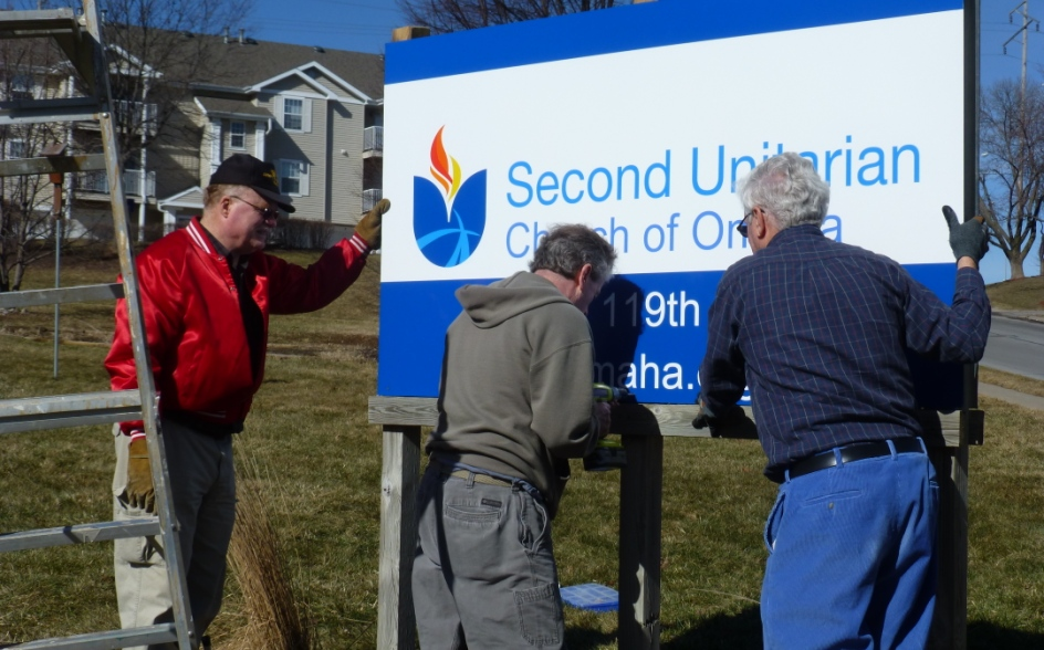 Installing New Church Sign