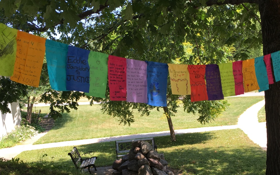 Prayer flags were hung on Second Unitarian Church grounds to honor the Orlando nightclub shooting victims.